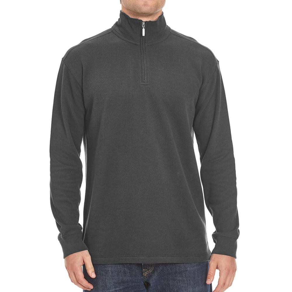 RUGGED TRAILS Men's French Rib ¼-Zip Knit Pullover - CHARCOAL