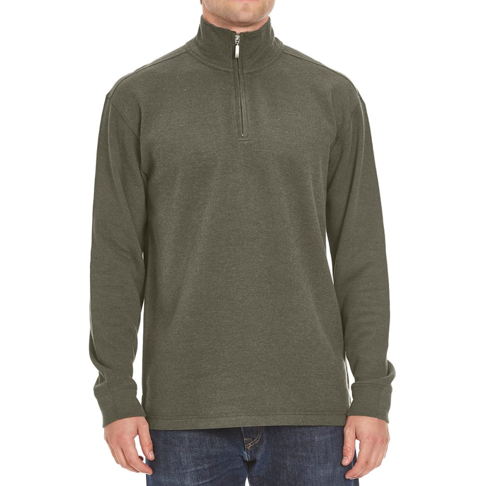 RUGGED TRAILS Men's French Rib ¼-Zip Knit Pullover - DK GRN HTR
