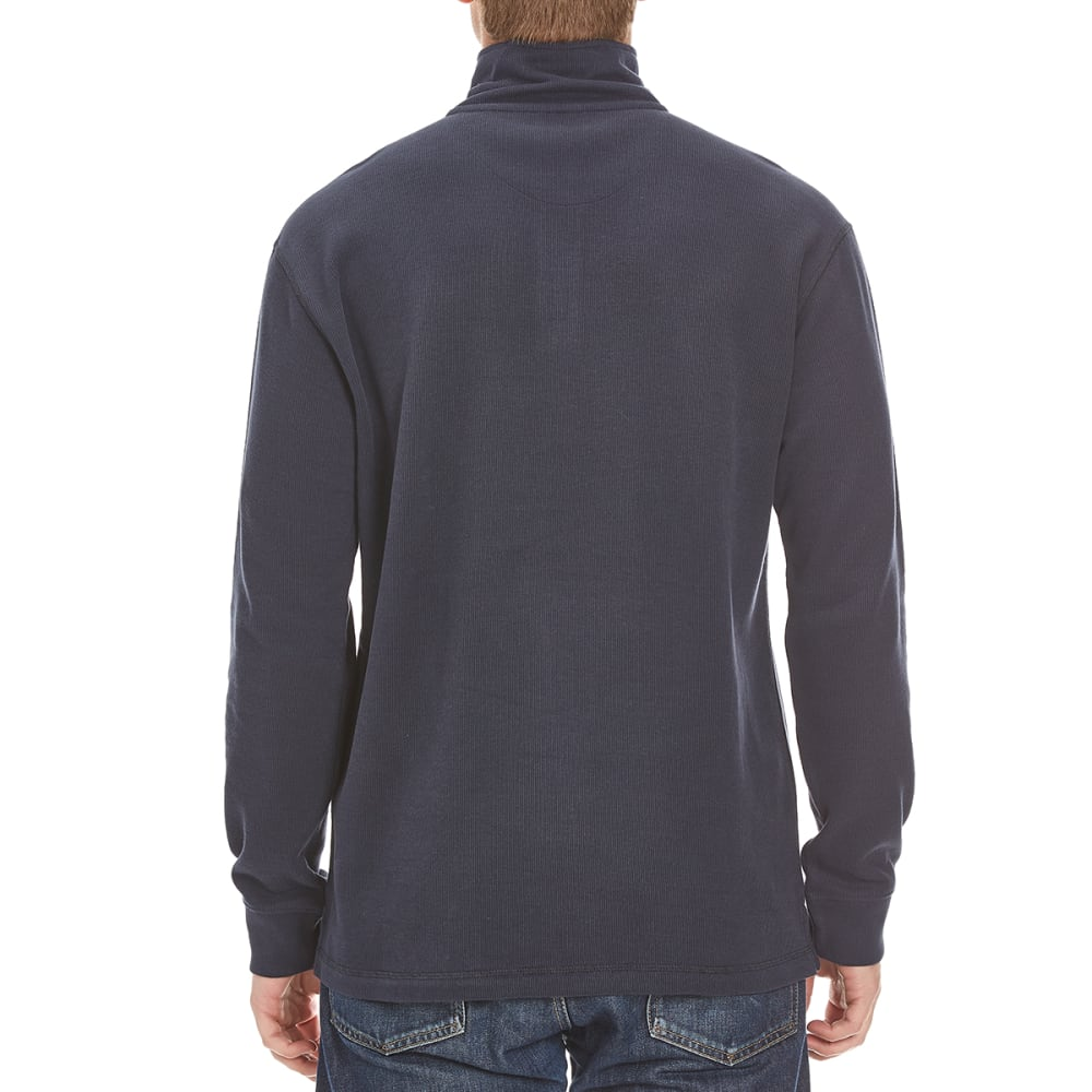 RUGGED TRAILS Men's French Rib ¼-Zip Knit Pullover - NAVY