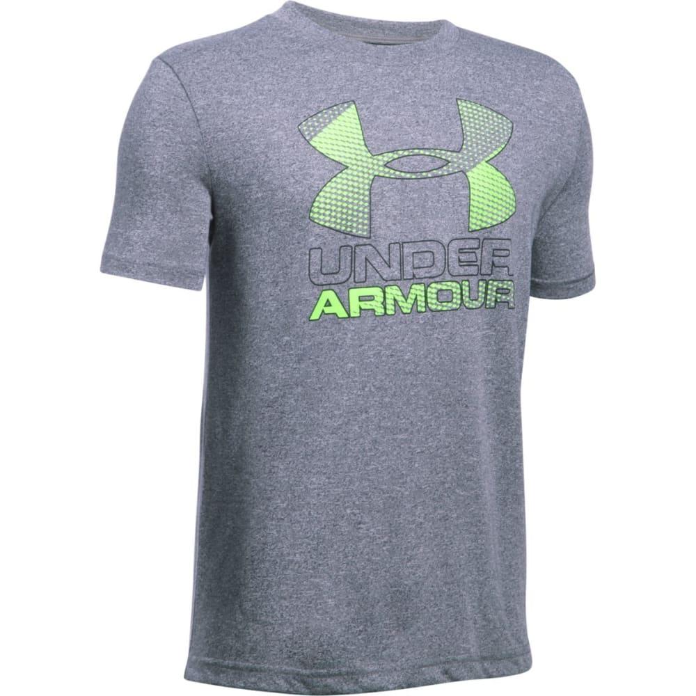 UNDER ARMOUR Boys' Hybrid Big Logo Short-Sleeve Tee - 041 GRAPHITE / FUEL