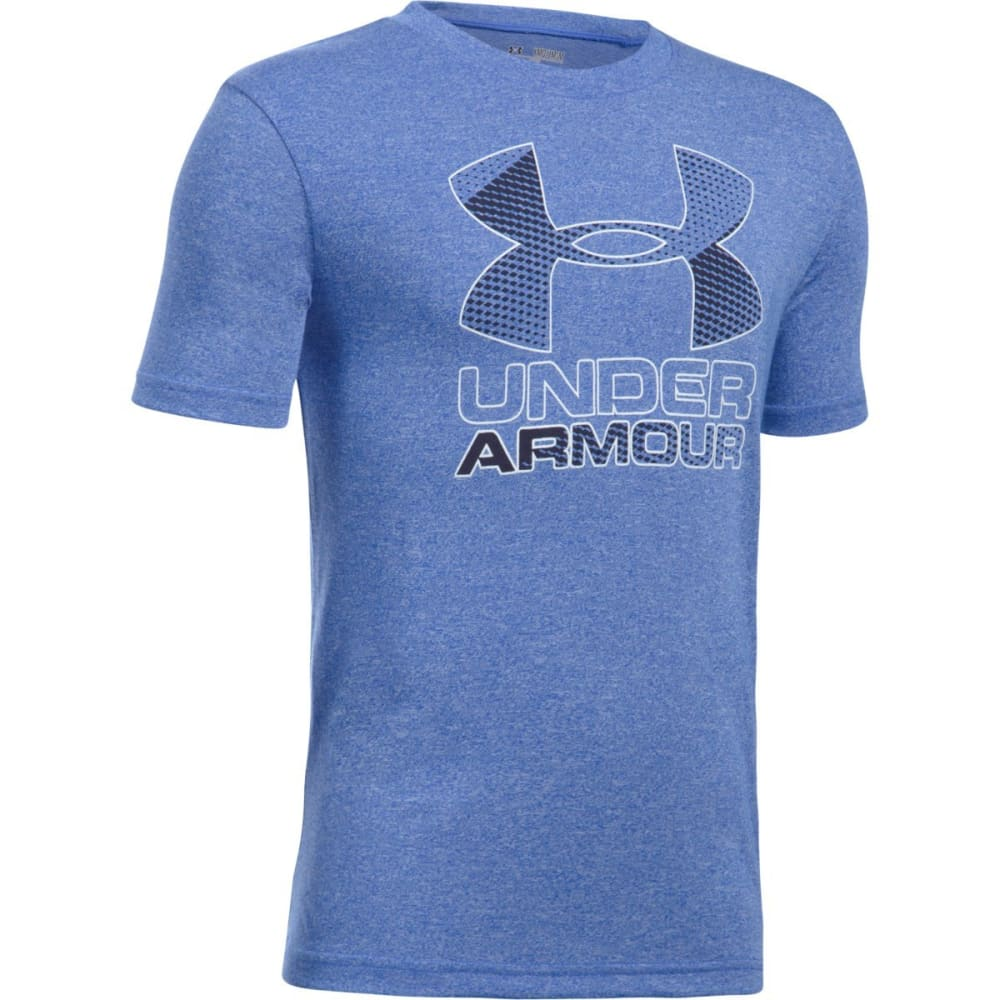 UNDER ARMOUR Boys' Hybrid Big Logo Short-Sleeve Tee - 907 ULTRA BLUE / WHT
