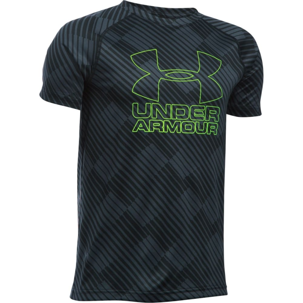 UNDER ARMOUR Boys' UA Big Logo Printed Hybrid Short Sleeve Tee - 008 STEALTH GRY / FU