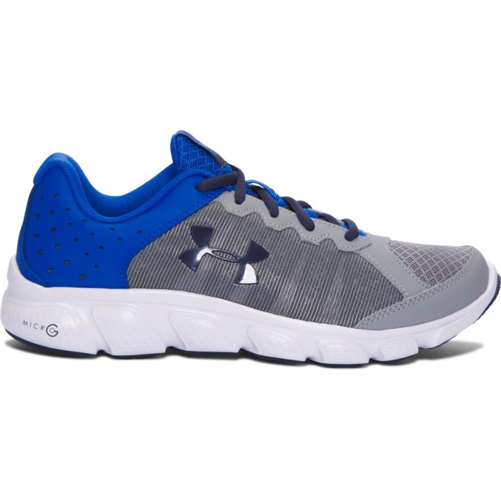 UNDER ARMOUR Boys' Grade School Micro G Assert 6 Running Shoes, Steel/Ultra Blue/Midnight Navy - STEEL