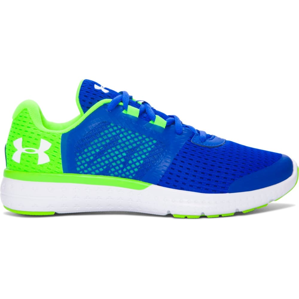 UNDER ARMOUR Boys' Grade School UA Micro G® Fuel Running Shoes, Ultra Blue/Hyper Green/White - ULTRA BLUE