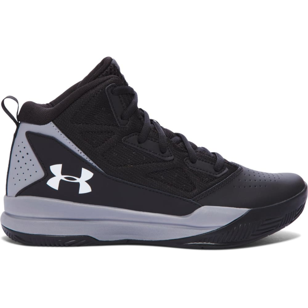 UNDER ARMOUR Boys' Grade School Jet Mid Basketball Shoes, Black - BLACK