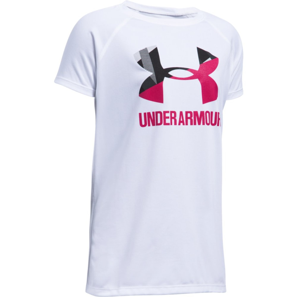 UNDER ARMOUR Girls' Solid Big Logo Short-Sleeve Tee - 100-WHITE/HNEYSUCKLE