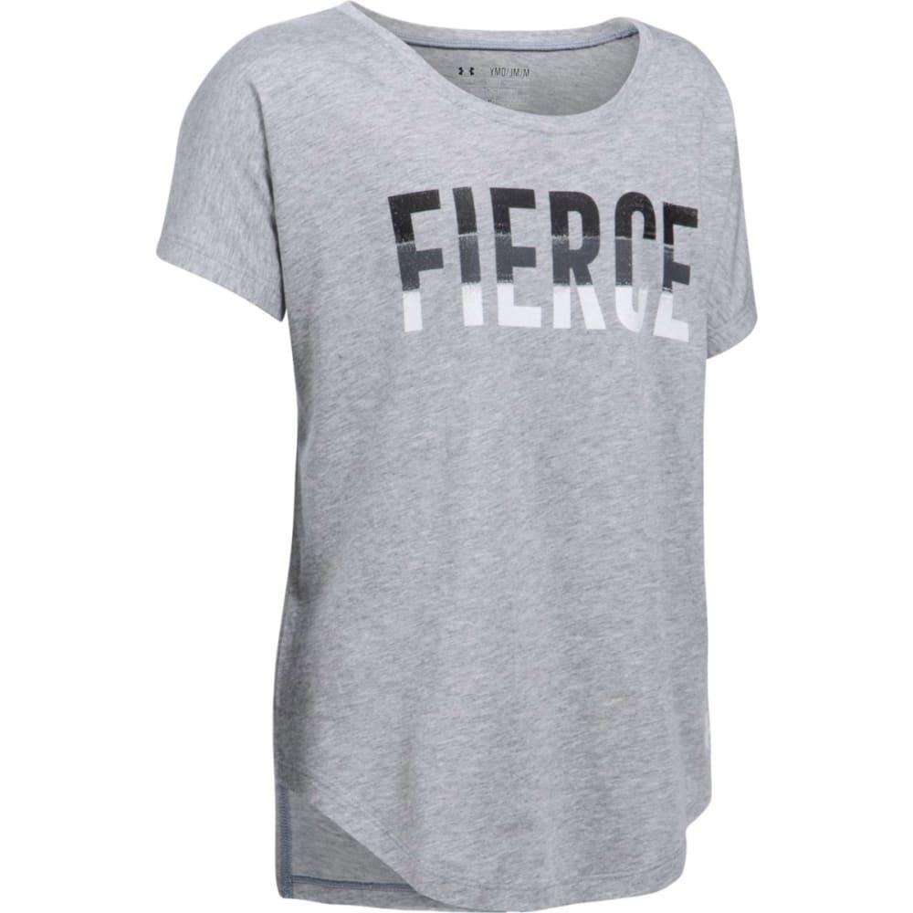 UNDER ARMOUR Girls' Fierce Short-Sleeve Shirt - 025-GREY/BLK/WHT