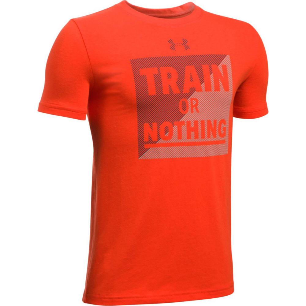 UNDER ARMOUR Boys' Train or Nothing Short-Sleeve Shirt - 860 DARK ORANGE