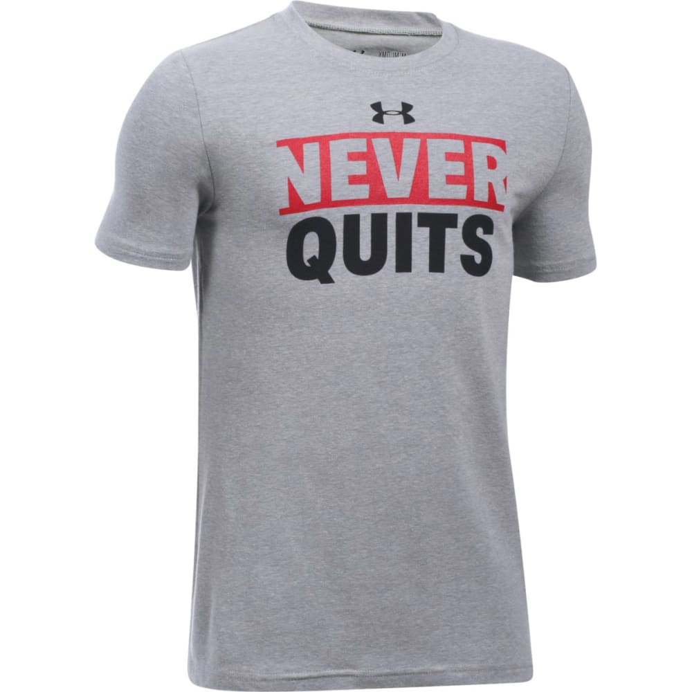UNDER ARMOUR Boys' Never Quits Short-Sleeve Tee - 025 TGH / RED / BLK