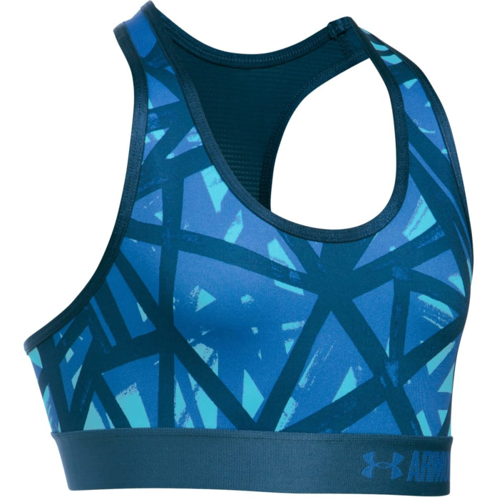 UNDER ARMOUR Girls' HeatGear Armour Printed Sports Bra Top - 448-VENETIANBLUE/NAV
