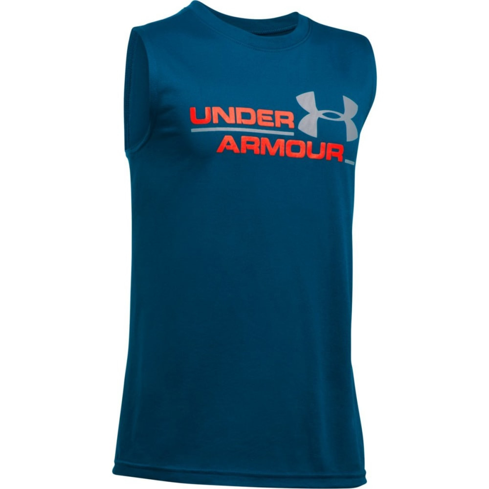 UNDER ARMOUR Boys' UA Duo Logo Tank - 997 BLACKOUT NAVY
