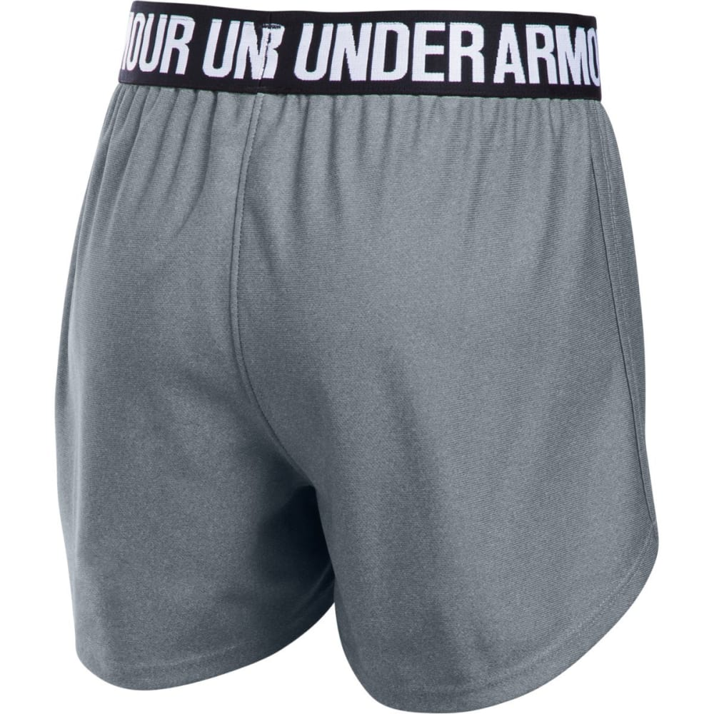 UNDER ARMOUR Girls' Play Up Running Shorts - 035-STEEL/BLK/WHT