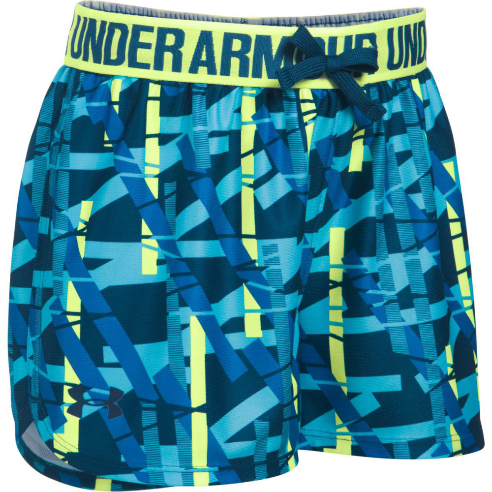 UNDER ARMOUR Girls' Play Up Printed Running Shorts - 448-VENETIAN BLUE