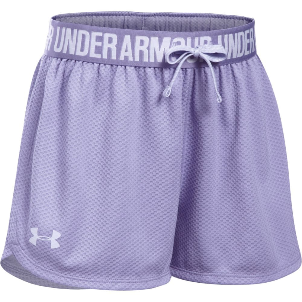 UNDER ARMOUR Girls' Play Up Mesh Running Shorts - 179-DK.LAVENDAR/ICE