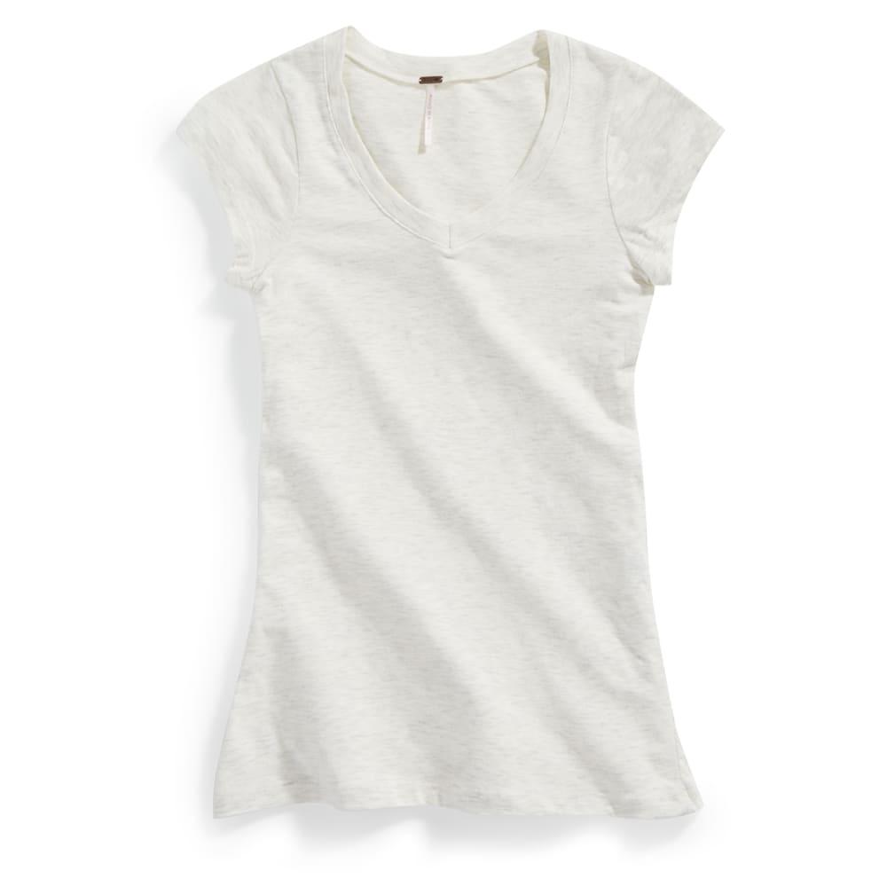 POOF Juniors' V-neck Short Sleeve Tee - WHITE