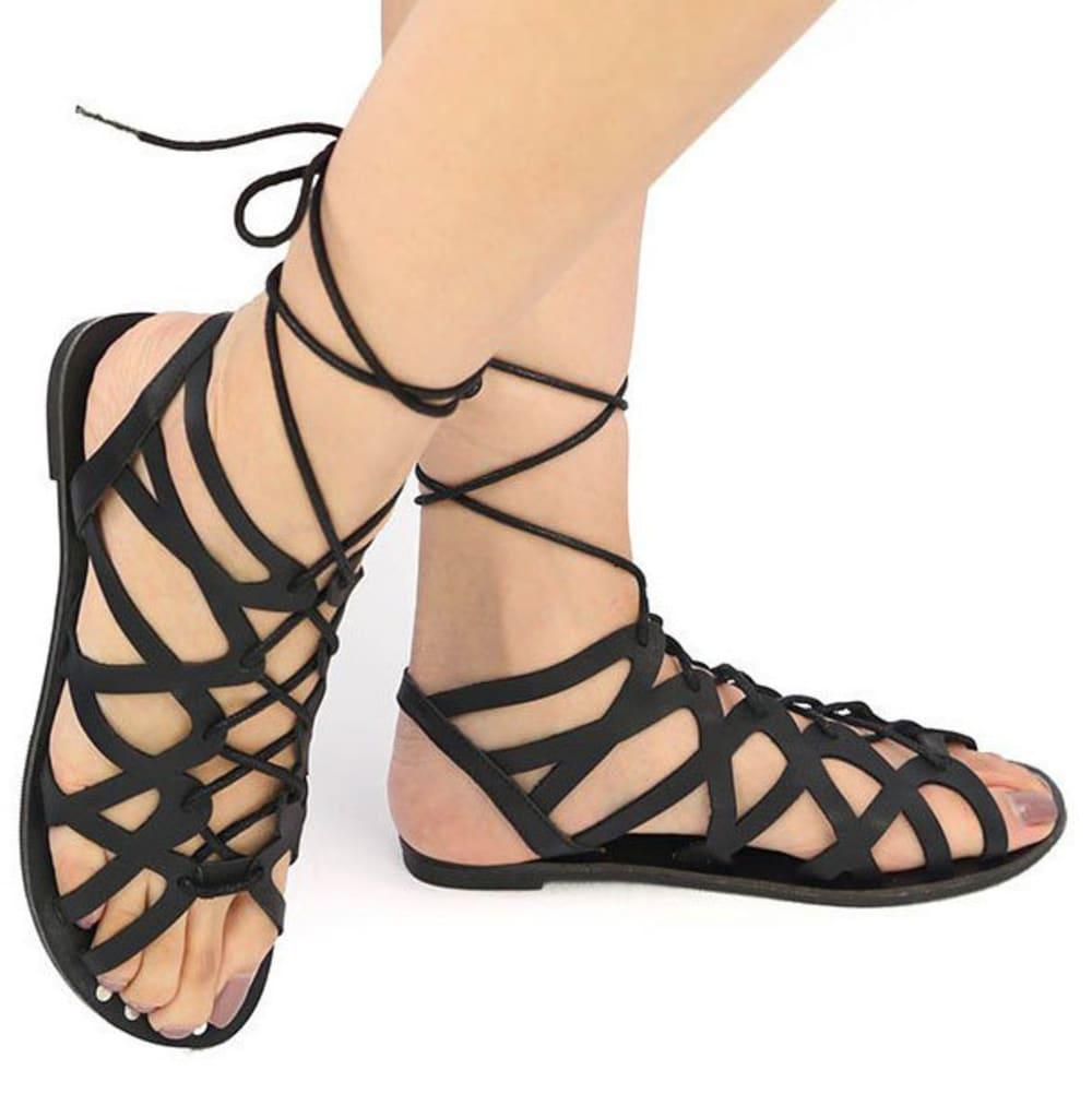 QUPID Women's Athena Flat Sandals - BLACK
