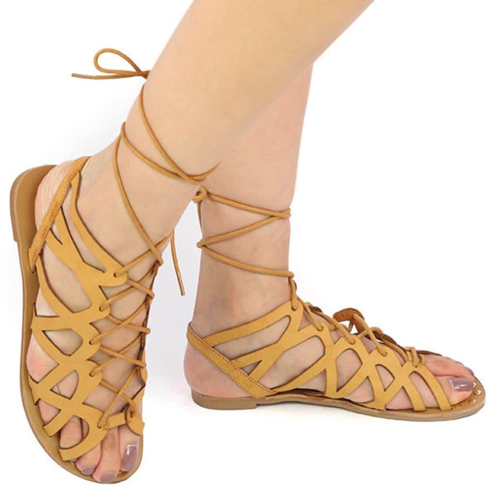 QUPID Women's Athena Flat Sandals - CAMEL