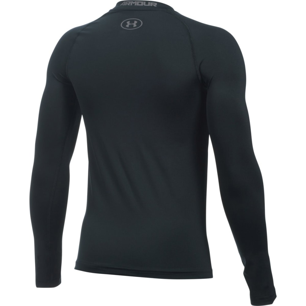 UNDER ARMOUR Boys' HeatGear Armour Long-Sleeve Shirt - 001 BLACK / GRAPHITE