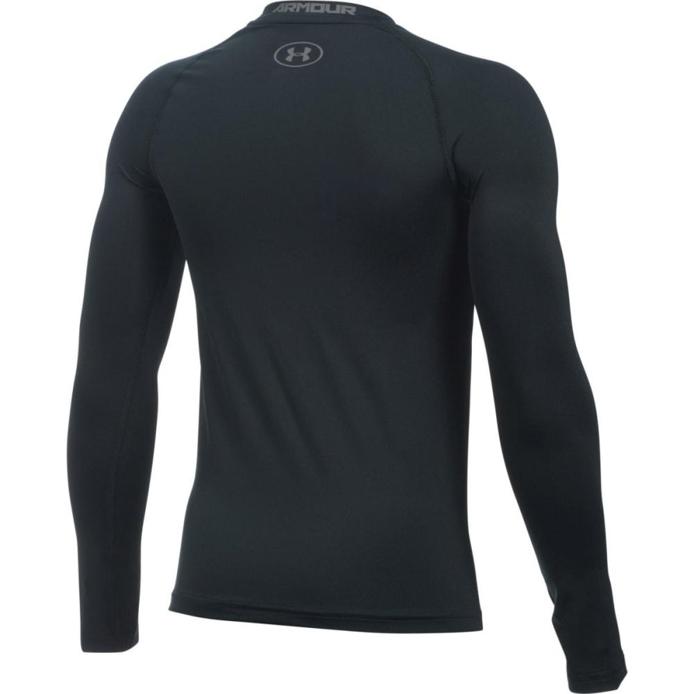 UNDER ARMOUR Boys' HeatGear Armour Long-Sleeve Shirt - 001 BLACK / GRAPHITE