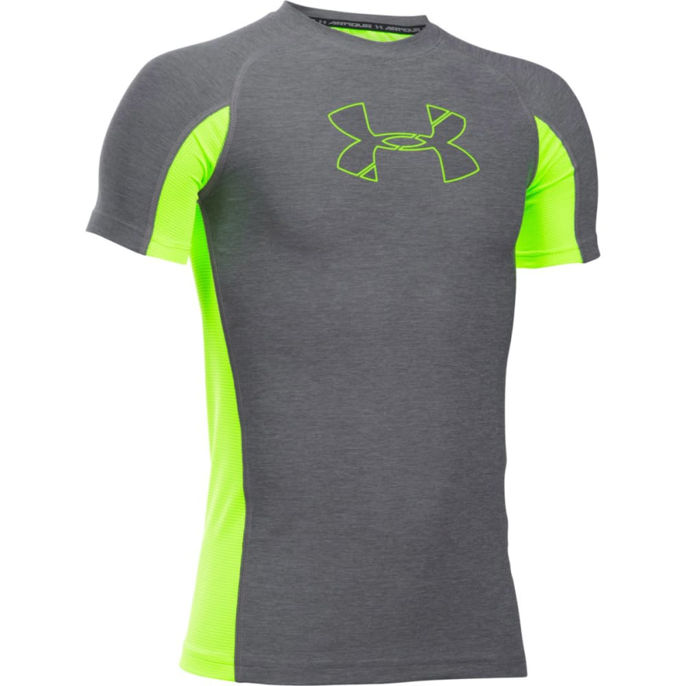 UNDER ARMOUR Boys' HeatGear Armour Patterned Football Short-Sleeve Shirt - 041 GRAPHITE / FUEL