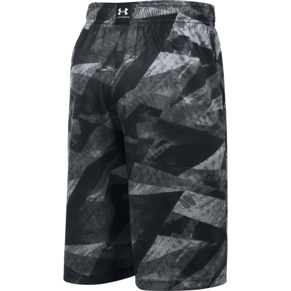 UNDER ARMOUR Boys' UA SC30 Essentials Printed Shorts - 001-BLK/GRAPHITE