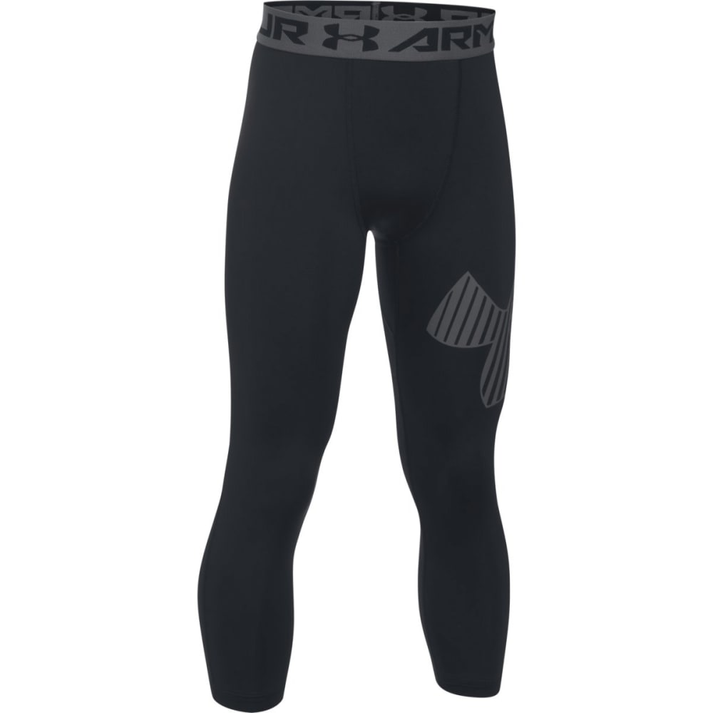 UNDER ARMOUR Boys' HeatGear Armour Logo ¾ Leggings - 002-BLK/GRAPHITE