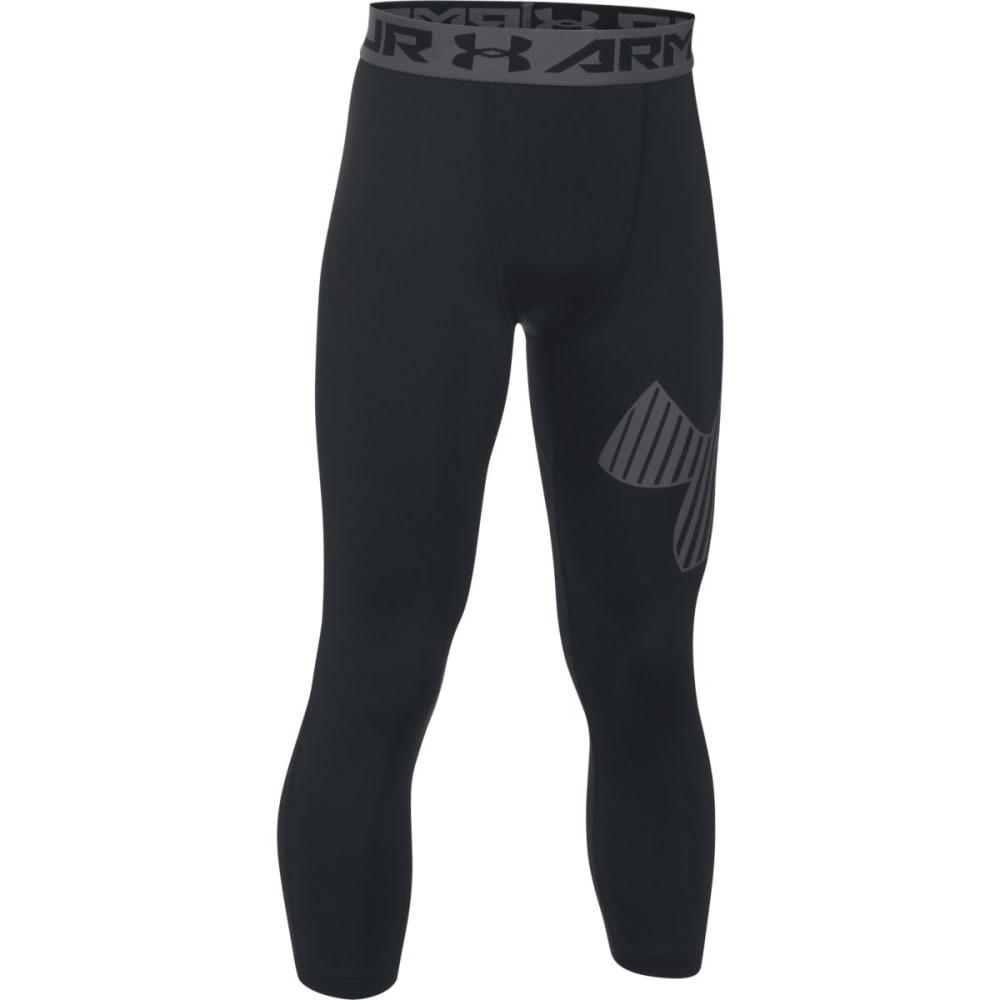 UNDER ARMOUR Boys' HeatGear Armour Logo ¾ Leggings - 002-BLK/GRAPHITE
