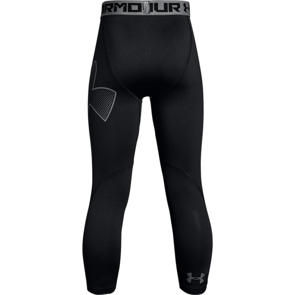 UNDER ARMOUR Boys' HeatGear Armour Logo ¾ Leggings - BLACK/GRAPHITE-003