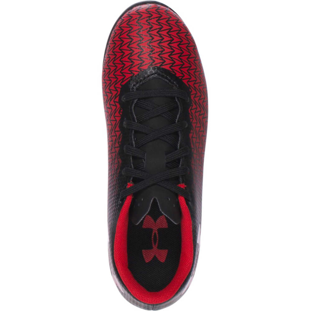 UNDER ARMOUR Boys' CF Force 3.0 FG Rubber Molded Jr. Soccer Cleats - BLK/RED  002