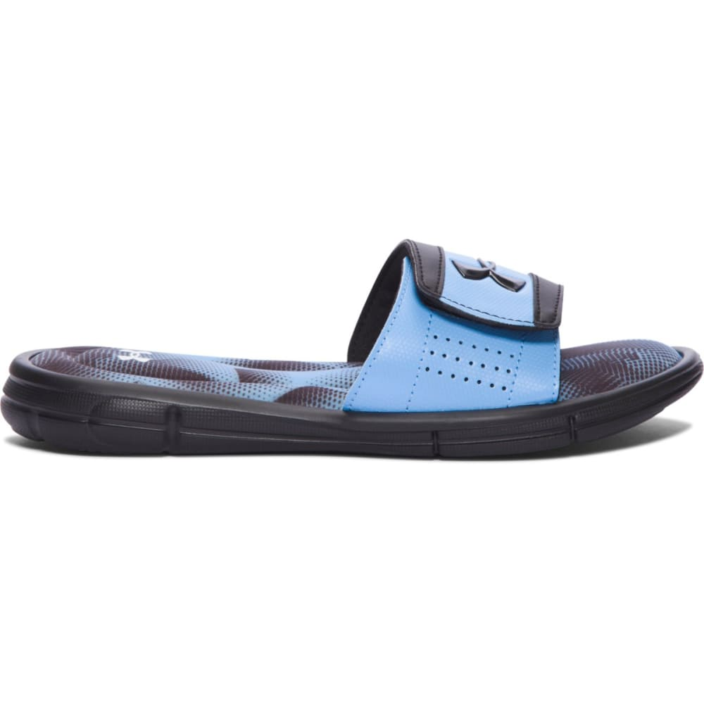 UNDER ARMOUR Boys' Ignite Banshee III Slides - BLACK/CAROLINA BLUE