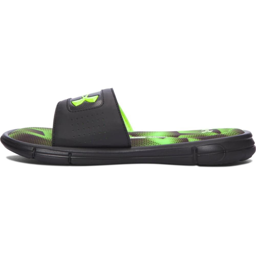 UNDER ARMOUR Boys' Ignite Banshee III Slides, Black/High-Vis Yellow - BLACK