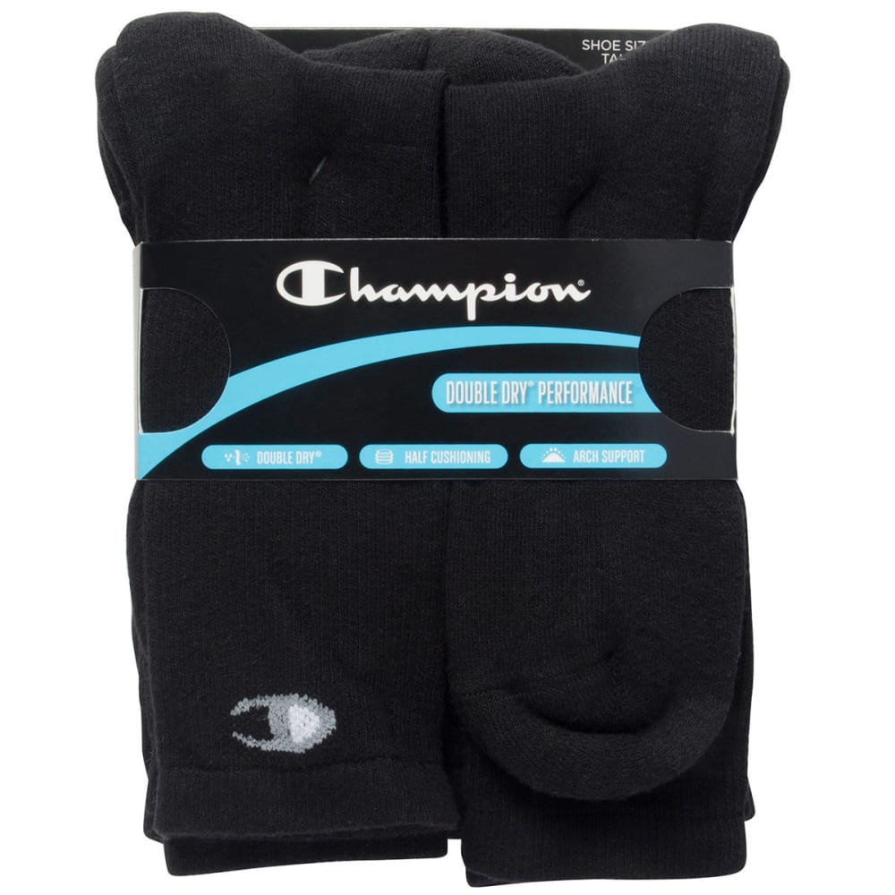 Champion Men's Crew Socks, 6 Pack - Black, L