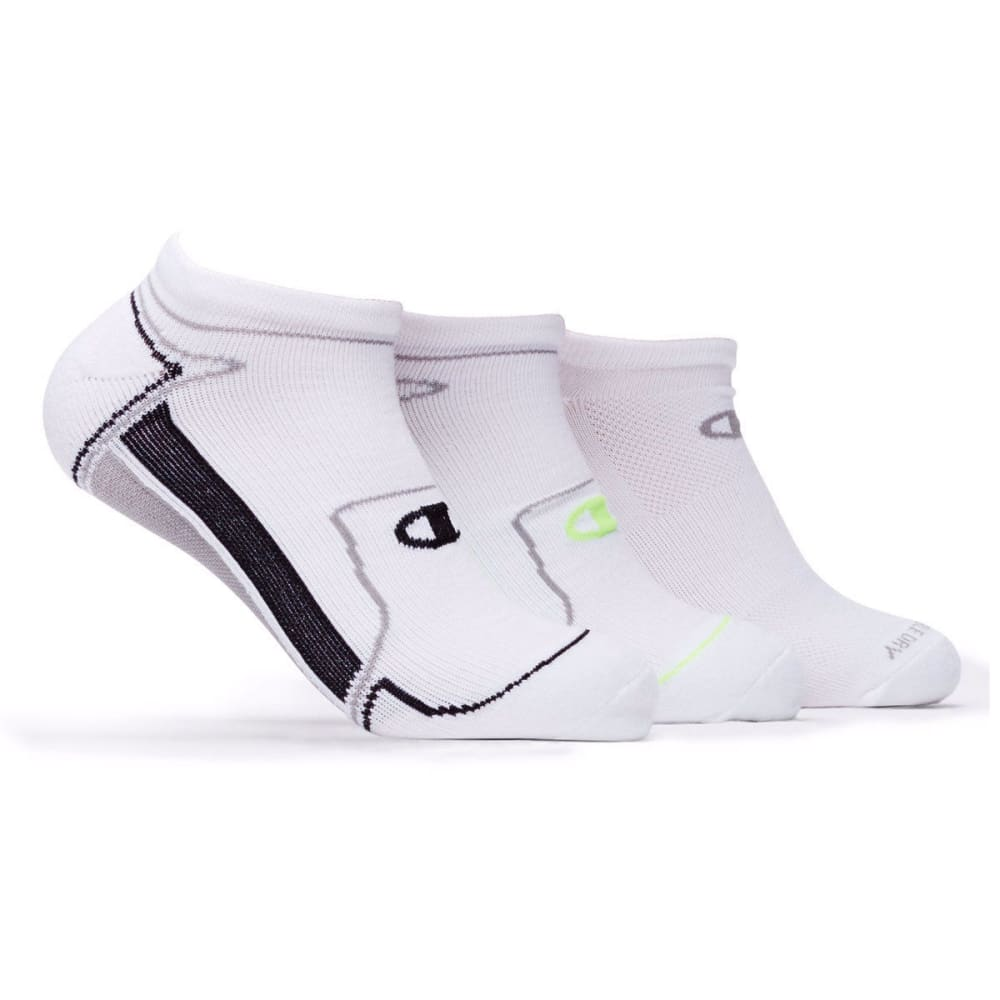 CHAMPION Men's Performance No Show Socks, 3 Pack - WHITE
