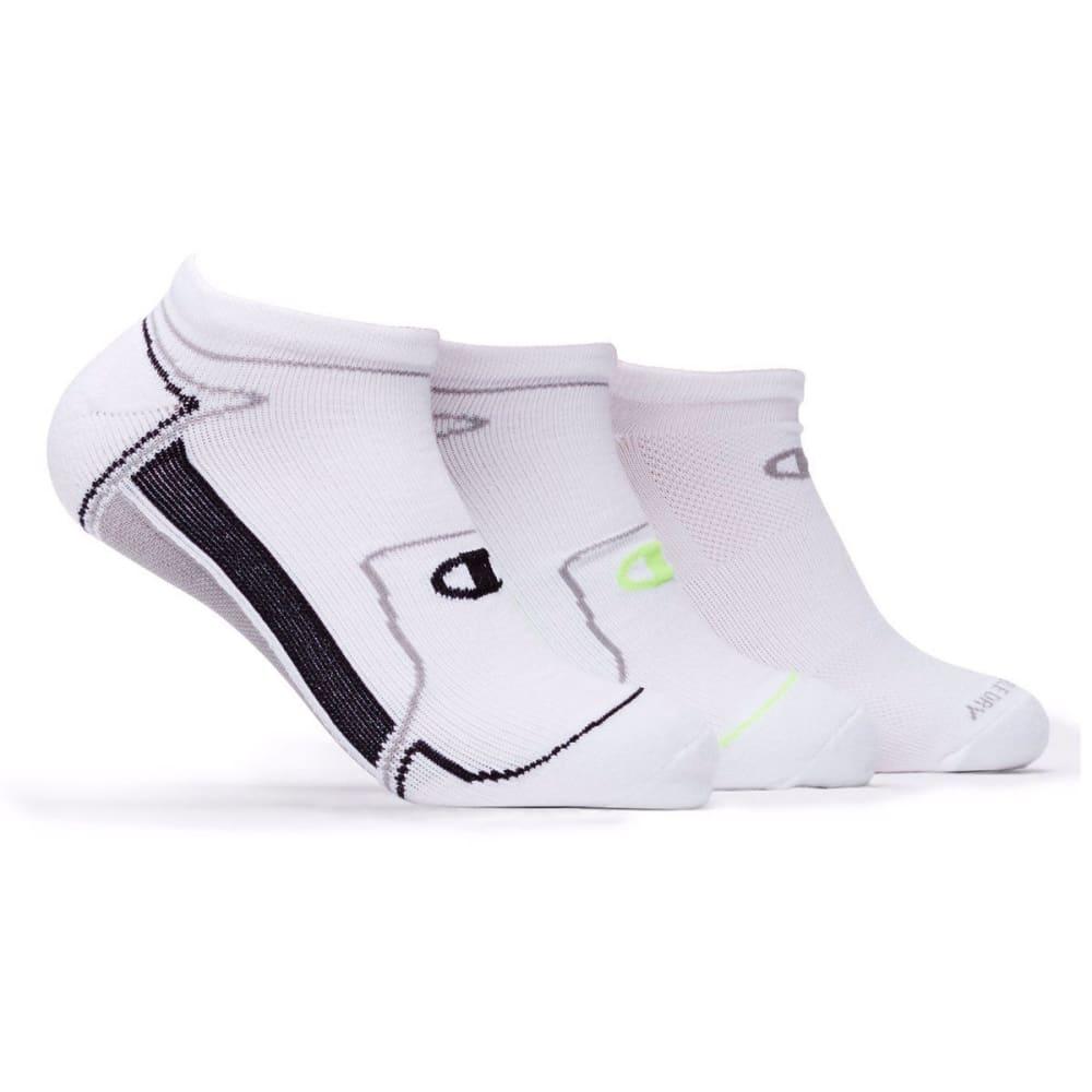 CHAMPION Men's Performance No Show Socks, 3 Pack - WHITE