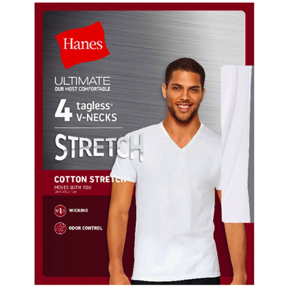 HANES Men's Ultimate Stretch Crew Tees, 4-Pack - WHITE