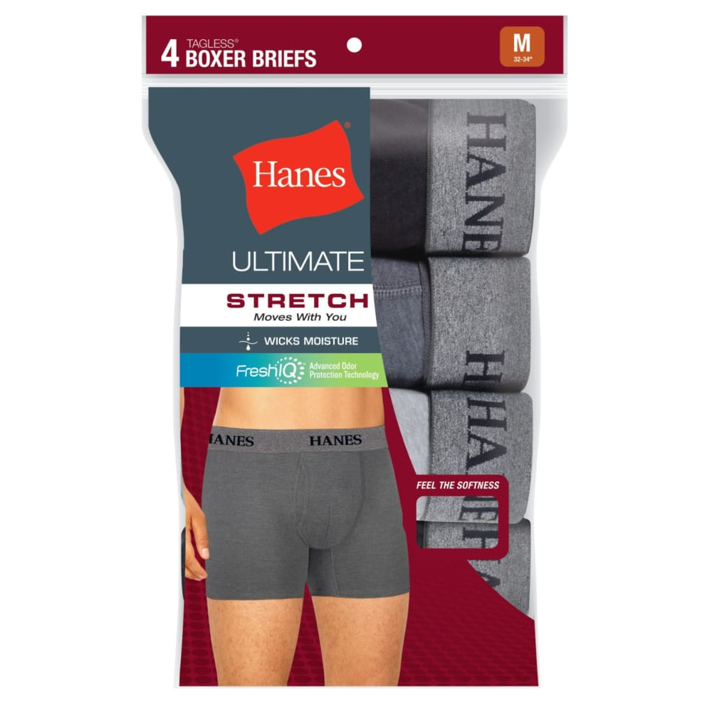 HANES Men's TAGLESS® Ultimate Stretch Boxer Briefs, 4-Pack - BLK/GREY