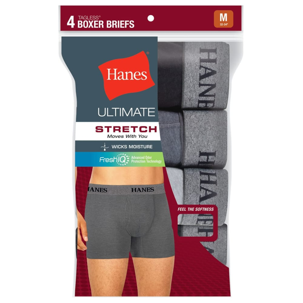 HANES Men's TAGLESS® Ultimate Stretch Boxer Briefs, 4-Pack - ASST
