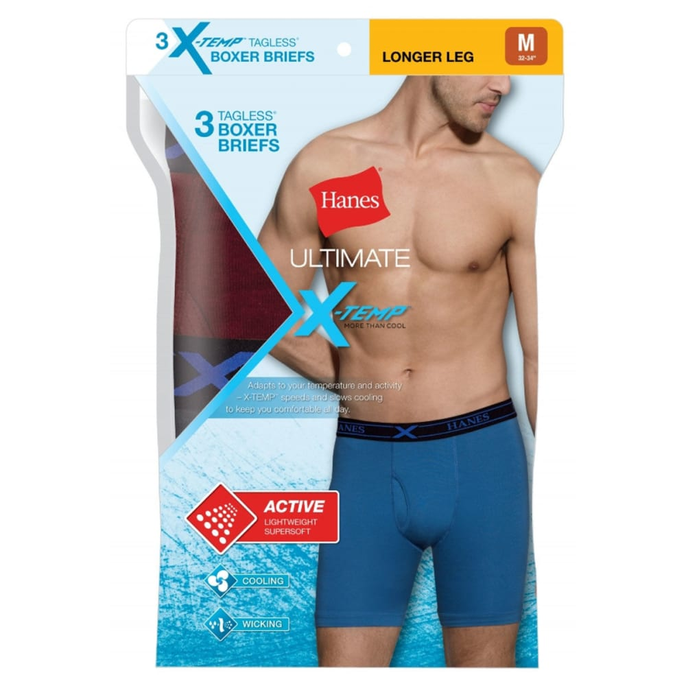 HANES Men's X-Temp® Active Cool Boxer Briefs, 3-Pack - ASST