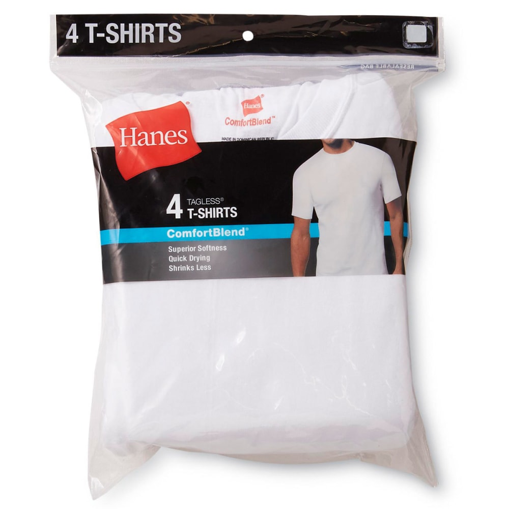 HANES Men's 4-Pack Comfort Blend Crewneck Undershirts, 4 Pack - WHITE