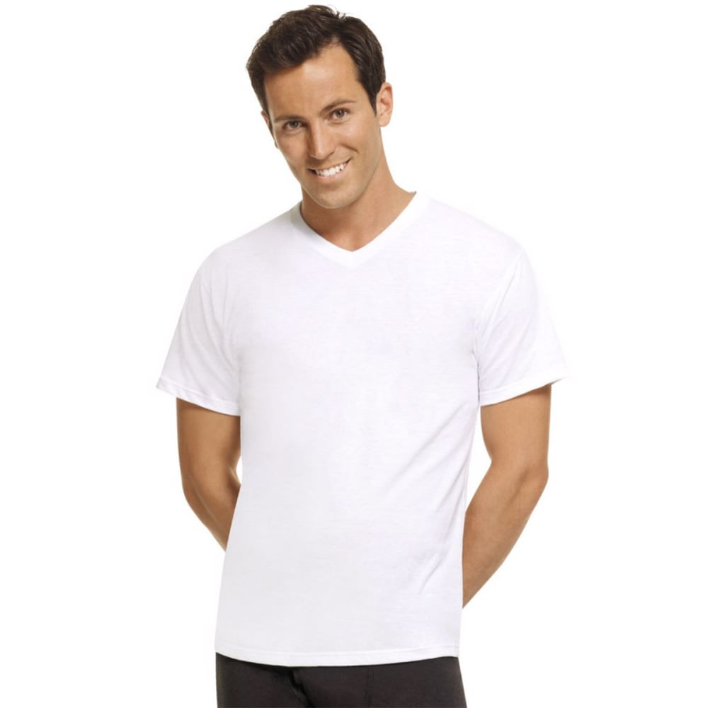 HANES Men's 4-Pack Comfort Blend V-Neck Undershirts, 4 Pack - WHITE