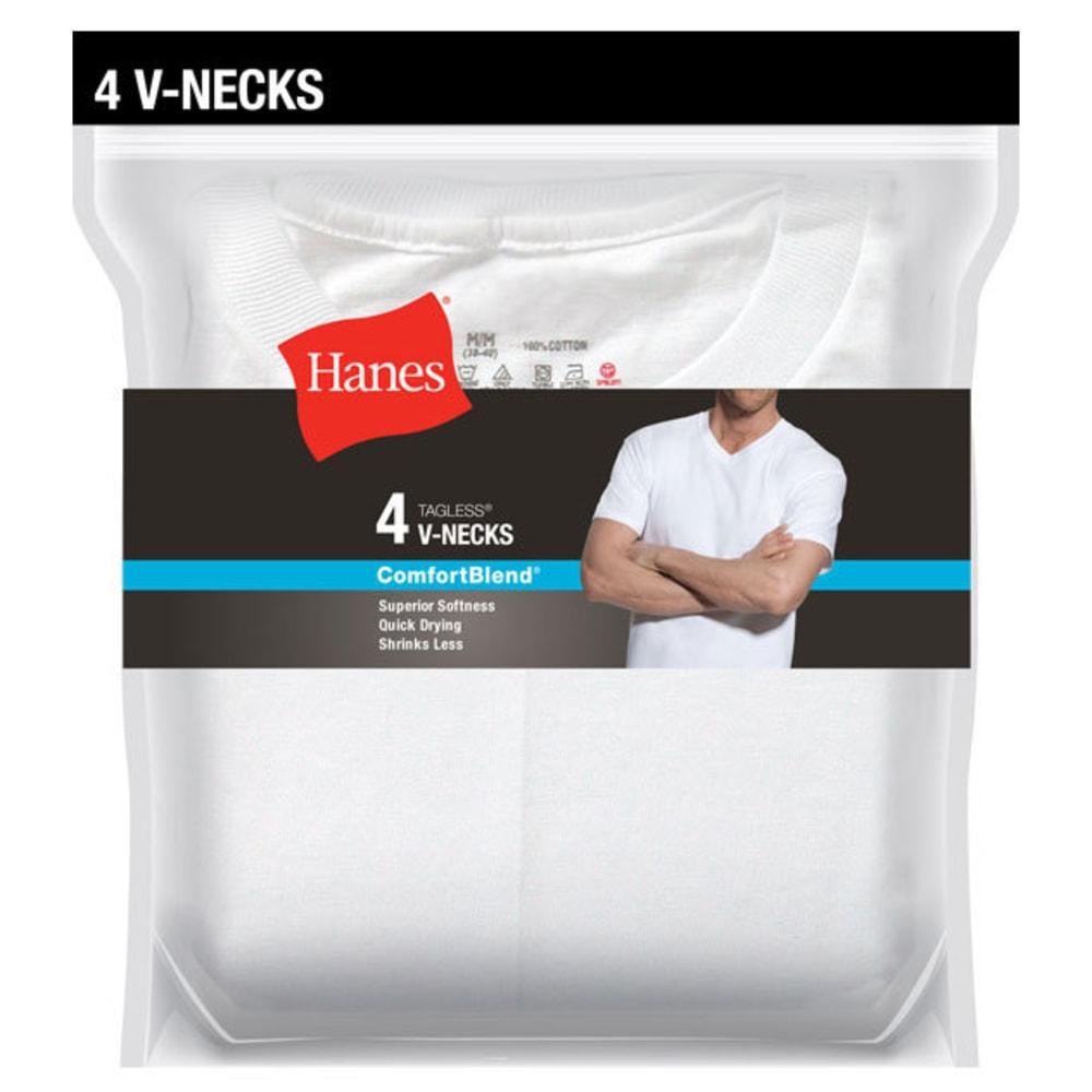 HANES Men's 4-Pack Comfort Blend V-Neck Undershirts, 4 Pack S