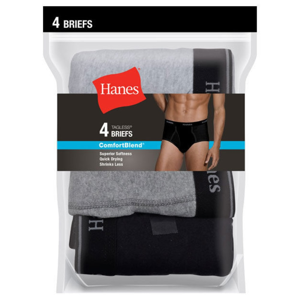 HANES Men's ComfortBlend Briefs, 4-Pack - BLK/GRY