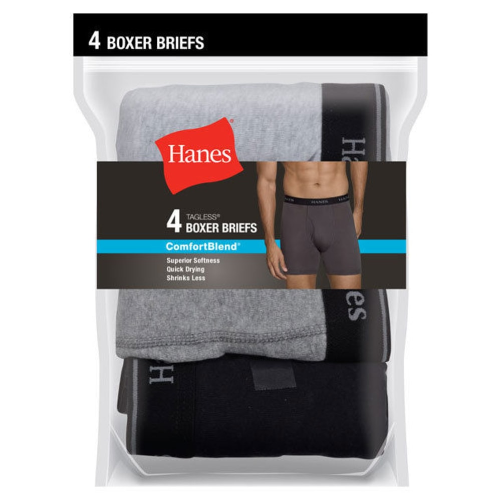 HANES Men's ComfortBlend Boxer Briefs, 4-Pack - ASST