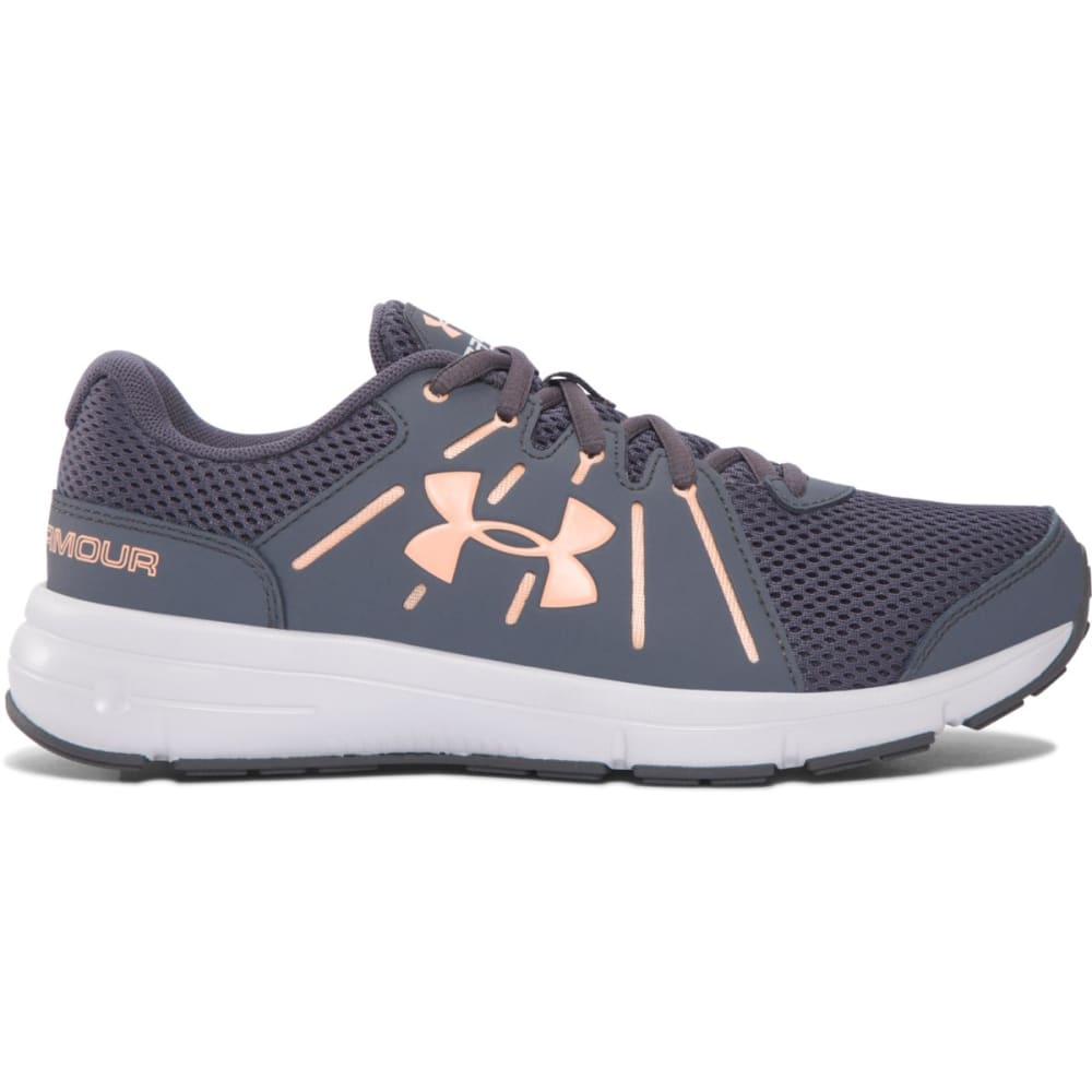 UNDER ARMOUR Women's Dash RN 2 Running Shoes, Grey/Peach - RHINO GRAY/PEACH