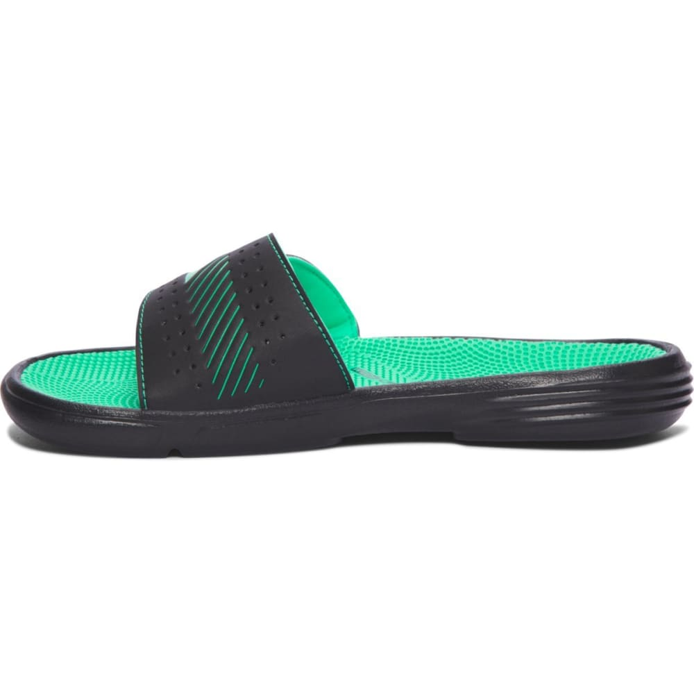 UNDER ARMOUR Women's Micro G® EV III Slides - BLK/VAPOR GRN