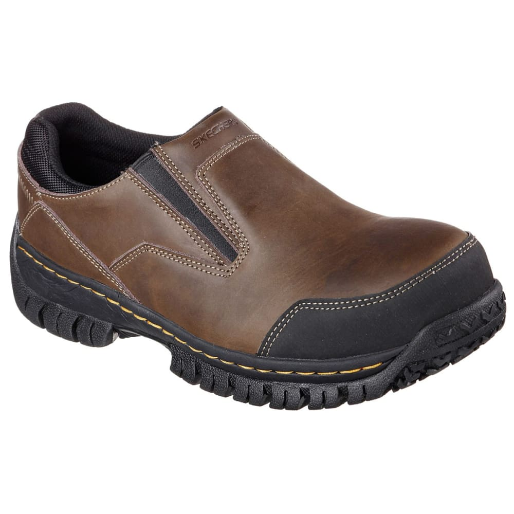 SKECHERS Men's Work Relaxed Fit: Hartan Steel Toe Work Shoes - DARK BROWN