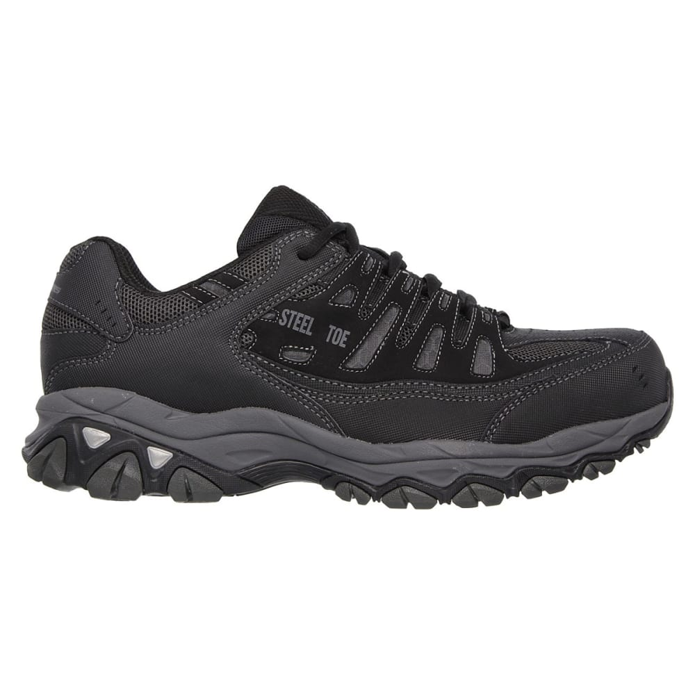 SKECHERS Men's Work Relaxed Fit: Crankton Steel Toe Work Shoes - BLACK