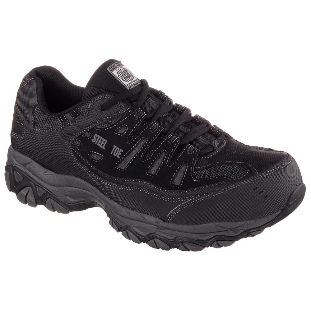 Skechers Men's Work Relaxed Fit: Crankton Steel Toe Work Shoes - Black, 8.5