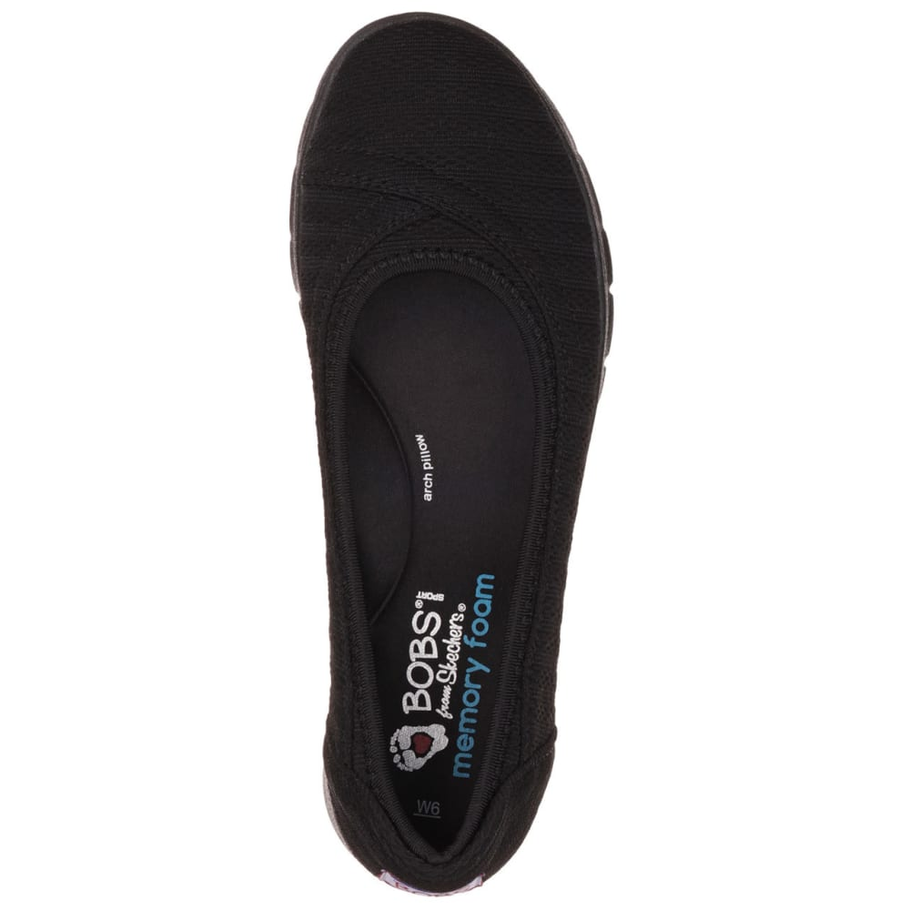 SKECHERS Women's Bobs Pureflex Supastar Flat Shoes - BLACK
