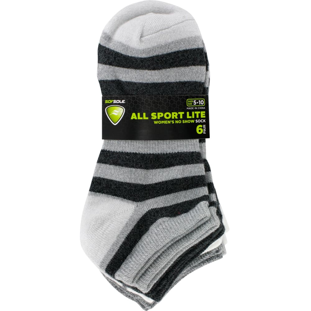 SOF SOLE Women's All-Sport Lite Multi-Stripe Socks, 6 Pack - GREY MULTI STRIPES